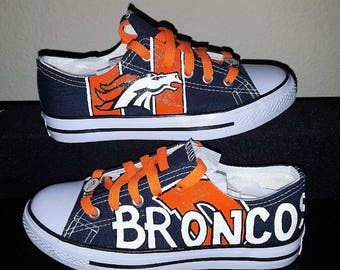 custom Denver Broncos men and women sports fan hand painted shoes!
