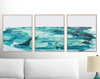 Abstract Art Print Set, Set of 3 Prints, digital downloads, Ocean Print, Printable Abstract, instant download, 16x20 Print, Sea Print