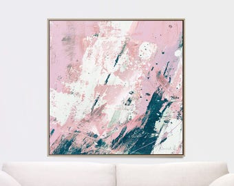 Printable Abstract Art, Navy Blue and Pink Art, 40x40 instant download art, Large Abstract Art, Blush Pink Wall Art, 20x30 art, 16x20 print