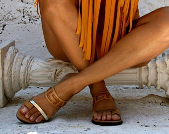 Ancient Greek Style Womens- Althaia gold-Ancient Grecian -Natural leather  sandals