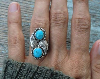 Sterling Ring with turquoise true vintage spring Navajo ethno 925 sterling silver Indian jewelry