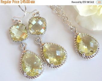 SALE Bridesmaid Jewelry, Yellow Earrings and Necklace Set, Light Yellow, Citrine, Soft Yellow, Sterling Silver, Pendant Set, Dangle,Wedding