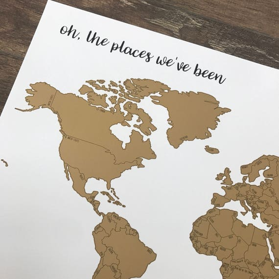 Holiday Sale - Free Shipping - Personalized Watercolor World Scratch Off Map