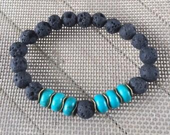 Lava Rock and Faux Turquoise Essential Oil Diffuser Bracelet, Aromatherapy Bracelet.