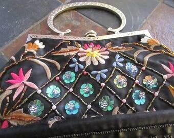 Black Embroidered and Embellished Vintage Purse