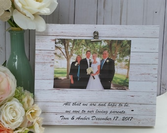 All that we are we owe to our parents, personalized wedding frame, wedding gifts for parents, mother of the bride frame, mother of the groom