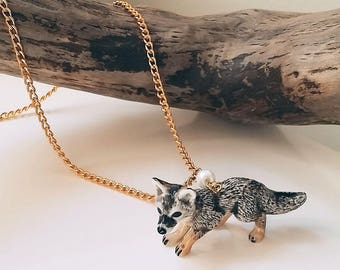 Gray Fox Necklace Cute Woodland theme Porcelain animal charm hipster whimsical