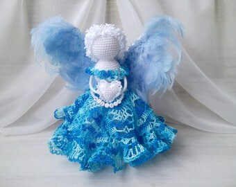 Сrochet angel,  Angel ornament, Guardian angel baby, Christmas decoration, Name angel baby, Christmas ornament, angel toy