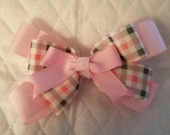 Pink and green plaid hair bow