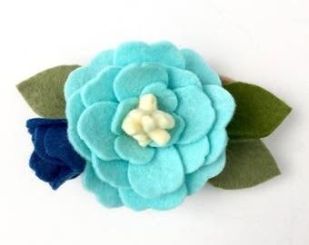 Blue flower headband - Teal and Navy - Floral Headband - Deep Blue Sea