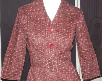 Vintage 50s 60s Nelly Don 2 Piece Tailored Secretary Day Dress