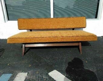 Mid Century Modern Sofa or Couch with Danish Influence Vintage 1960's Daybed in New Burnt Orange Upholstery