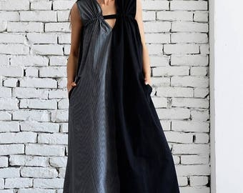 ON SALE Black and Grey Maxi Dress /Grey and Black Asymmetrical Kaftan/Extravagant Long Loose Dress /Party Dress /Daywear Dress by METAMORPHO