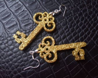 Christmas gift earrings  Golden Key for her Golden sequins For woman