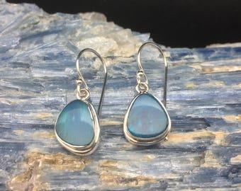 Opal Earrings // 925 Sterling Silver // Blue Color // Australian Opal Earrings