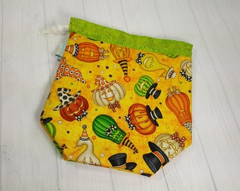Halloween Ghords & Pumpkins Drawstring Bag, Knitting project bag, Small Drawstring Bag, Knitting Drawstring Bag DSS0029