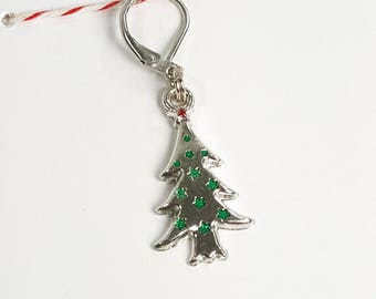 Jeweled Silver Christmas Tree Progress Keeper Marker Stitch Marker - 6mm lever back (silver toned) PK0015