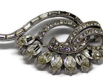 Classic Kramer Of New York Rhinestone Brooch/Pin Vintage 1950 Rhinestone Jewelry Bridal Pin The Diamond Look  Statement Jewelry