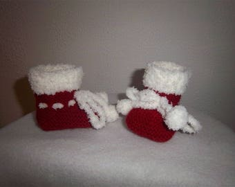 Slippers woolen Christmas 0/3 months
