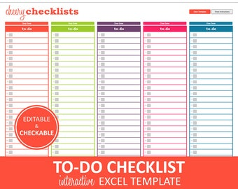 Cheery Checklists - To Do List Printable | Excel To Do List Template | Checklist Planner | Instant Digital Download