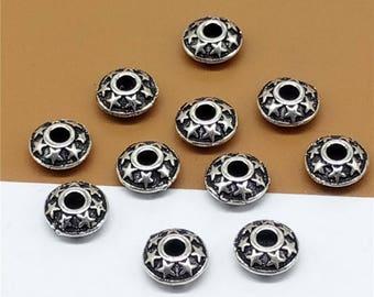 4 Sterling Silver Star UFO Beads, 925 Silver Star Saucer Beads, Star Beads, Pentagram Beads - TZ776