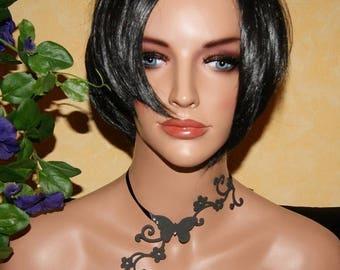 Tattoo necklace * black rhinestone butterfly *.