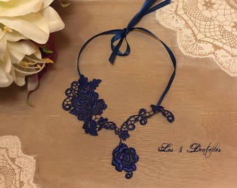 Royal Blue lace necklace * lace * 3 laces