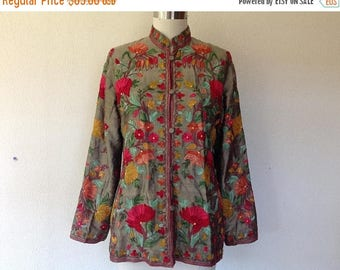 SALE Vintage embroidered silk jacket