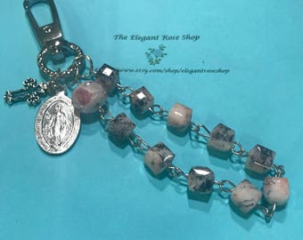Handmade One Decade Rosary Keychain in Pink, Black, and White with Miraculous Medal