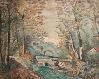Vintage oil painting landscape forest river