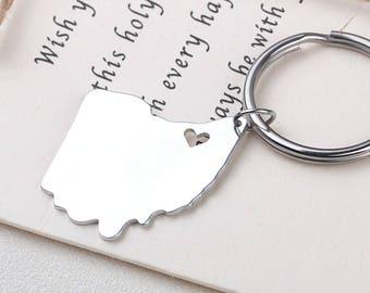 I heart Ohio keychain - Ohio keyring - Map Jewelry - State Charm - Map keychain