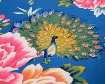 Traditional Chinese Fabric Cotton Peacock Peony Blue 0.5m