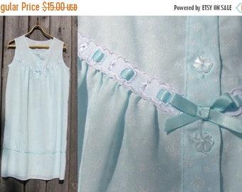 20% OFF Vintage Nightgown; Cotton Tank Top - Sleepwear, Mint Full Slip; BHS Vintage Nightgown Size M / L; Romantic Sleepwear; Vintage Night