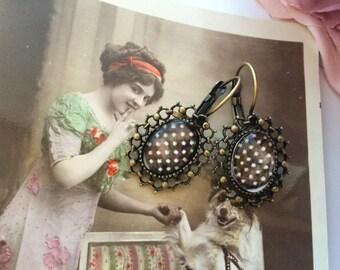 Earrings ' ear retro vintage polka dots and bronze