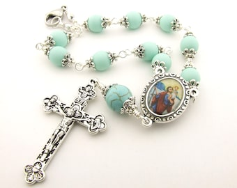 Car Rosary - Saint Christopher Patron Saint of Travelers Auto Rosary One Decade Pocket Rosary Unbreakable Mint Green Rosary - Catholic Gift