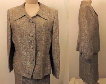 Herbert Grossman Cynthia Sorbel Green Evening Dress Suit Size 16