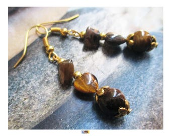 """""""Tiger eye beads and heart"""" earring on antique gold"""