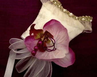 Strapless silk Orchid with box