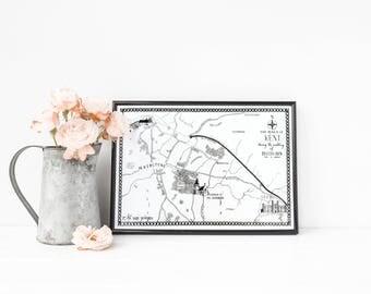 Custom Illustrated Wedding Map - A4