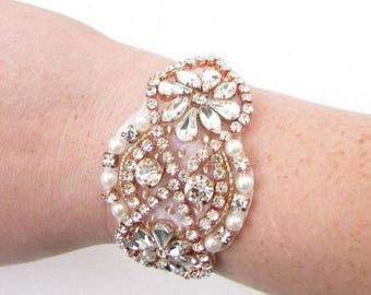 Rose Gold Ivory Pearl Silver Diamante Bridal Bracelet Wedding Bridesmaid 4886