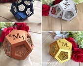 Geometric laser cut favor boxes minimal heart terrarium dodecahedron gold copper silver