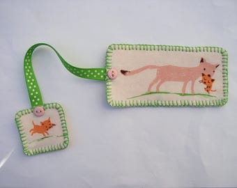 Bookmark cat and kittens in fabric