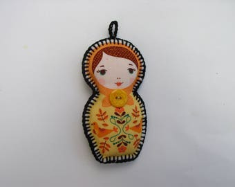 keychain or purse matryoshka yellow flower embellishment