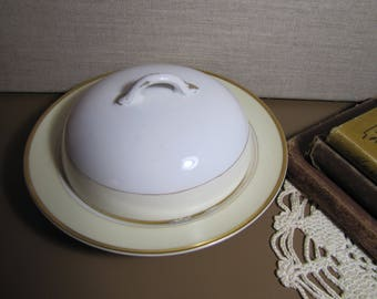 Vintage Noritake - Roslyn - Domed Lid Butter Dish - White and Pale Yellow - Gold Accent - Made in Japan