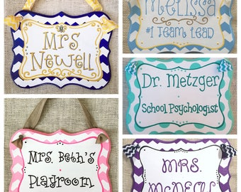Custom name sign - teacher name sign - office decor - name plaque - door sign - counselor sign - teacher gift - back to school