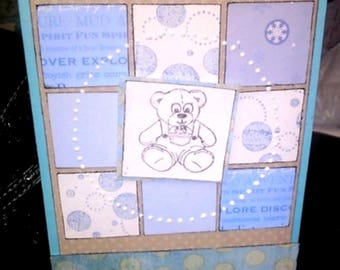 Greeting card for a baby (boy theme)