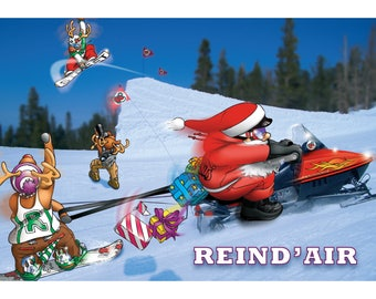 SNOWBOARD CHRISTMAS CARD - Reind'air - Funny Christmas card