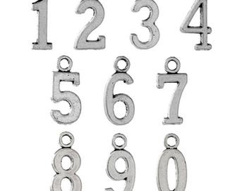 30 Numbers 0-9 Antique Silver Charms One Two Three Four Five Six Seven Eight Nine (004)