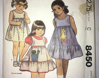 "50% off Sale - Uncut Vintage MCCALLS Childrens Sun Dress or Jumper Sewing Pattern #8450 Size 5 Bust: 24"" Waist 21.5"""