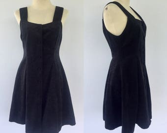 Vintage Pinafore Dress, Black Pinafore Dress, Buckle Dress, Retro Dress, Vintage Dress, Size 8 10